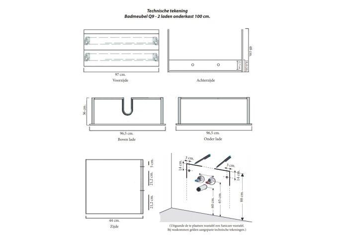 Badkamermeubelset Sanicare Q9 2 Laden 100cm Antraciet (spiegel optioneel)