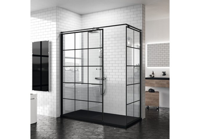 Inloopdouche Novellini Kuadra H Squares 160x200 cm Helder Glas Mat Zwart Raster