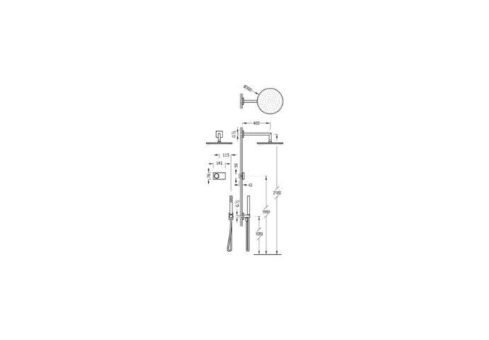 Tres electronische inbouw doucheset met regendouche chroom 09286558