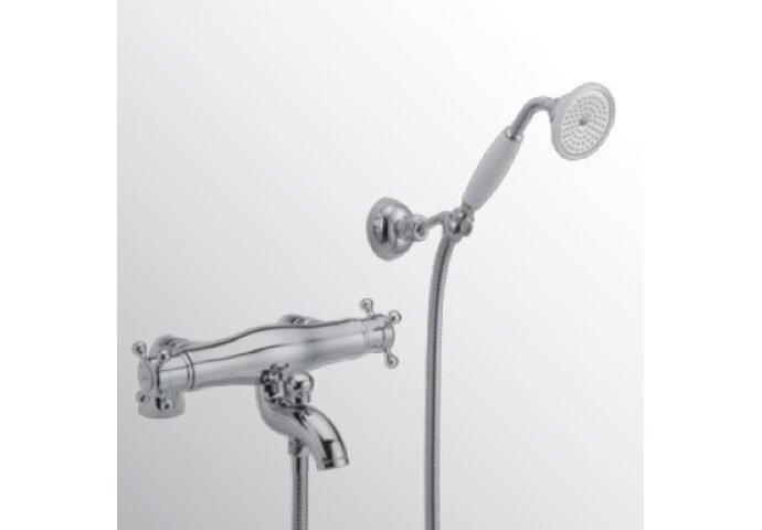 Huber Victorian Thermostatische Badkraan met Douchegarnituur voor badrandmontage Brons 196.VT01H.BA