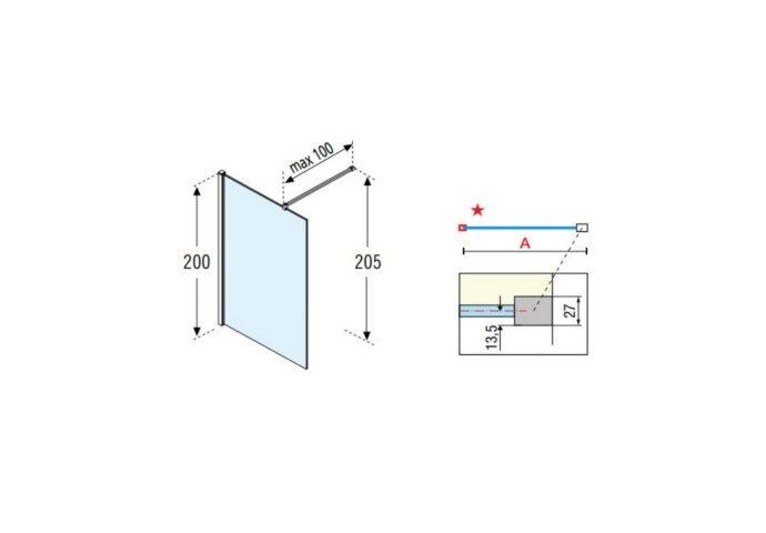 Inloopdouche Novellini Kuadra H Stripes 80x200 cm Helder Glas Mat Zwart Raster