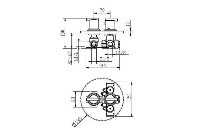 Huber Tratto Douchethermostaatkraan inbouw chroom 867.01H.CR