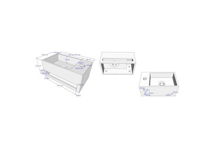 Fonteinset BWS Solid Surface met Handdoekhouder Rechts Betonlook Grijs / Goud (inclusief kraan, afvoer en sifon)