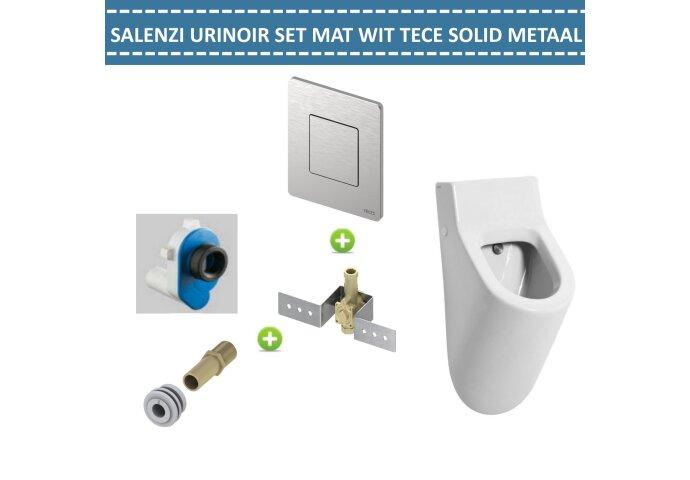 Urinoir Set Salenzi Hung Achterinlaat Mat Wit met TECE Solid Drukplaat Metaal