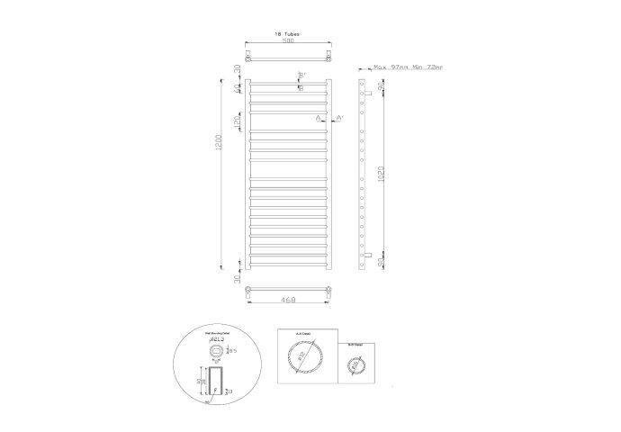 Handdoekradiator Sapho Lina Recht 50x120 cm 299W Gepolijst RVS