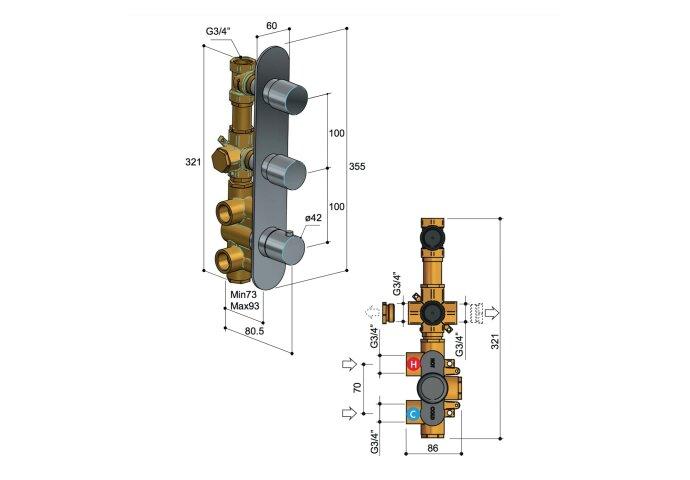 Douchethermostaat Hotbath Buddy Inbouw 2 Stopkranen Verticaal Geborsteld Nikkel