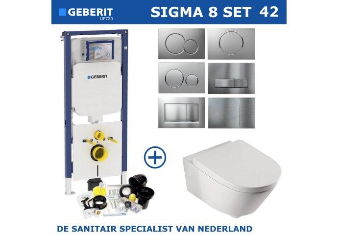 Geberit Sigma 8 (UP720) Toiletset set42 Boss & Wessing Metro 56cm Met Sigma Drukplaat