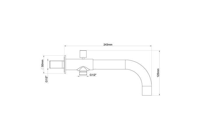 Inbouw Baduitloop Wiesbaden Met Omstel 24 cm 1/2 Chroom