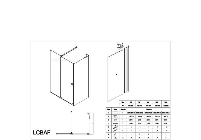 Douchecabine Lacus Capri 1 120 cm Schuifdeur 8mm Nano Spiegelglas