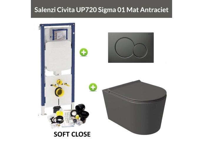 Geberit UP720 Toiletset Wandcloset Salenzi Civita Mat Antraciet met Sigma 01 Drukplaat