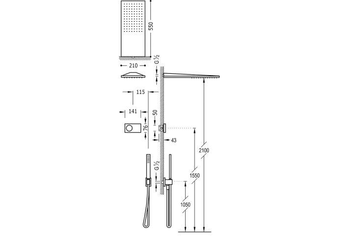 Regendoucheset Elektronisch Tres Slim Exclusive Inbouw Thermostatisch Chroom