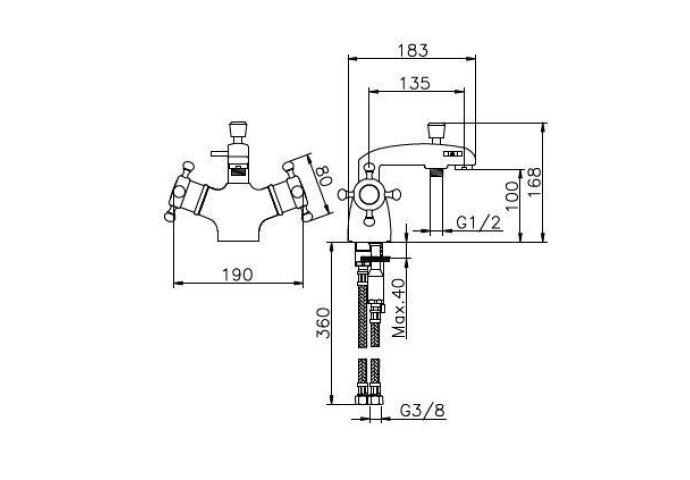 Huber Victorian Thermostatische Badkraan voor badrandmontage Goud 107.VT01H.AG
