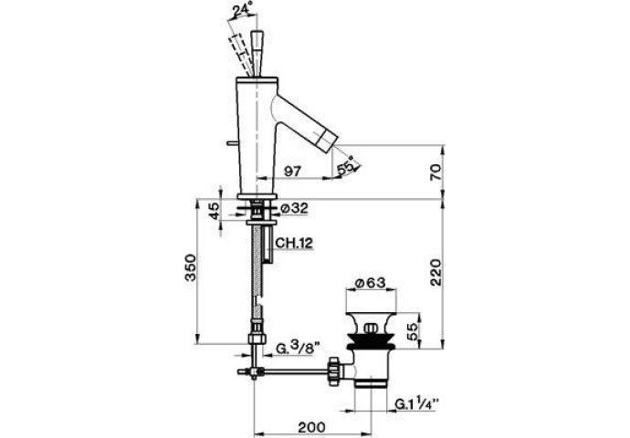 Wastafelkraan Cisal Pumpy PU0005102D RVS