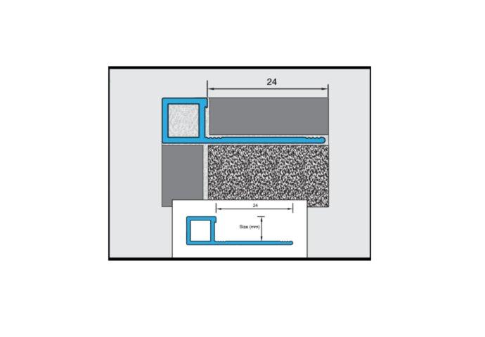 Tegelprofiel QUBOX Ox Vierkant Alu Hoogglans Geborsteld 10 x 2500mm