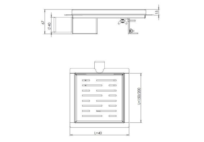 RVS Doucheput 15x15cm met Flens / 3de Generatie