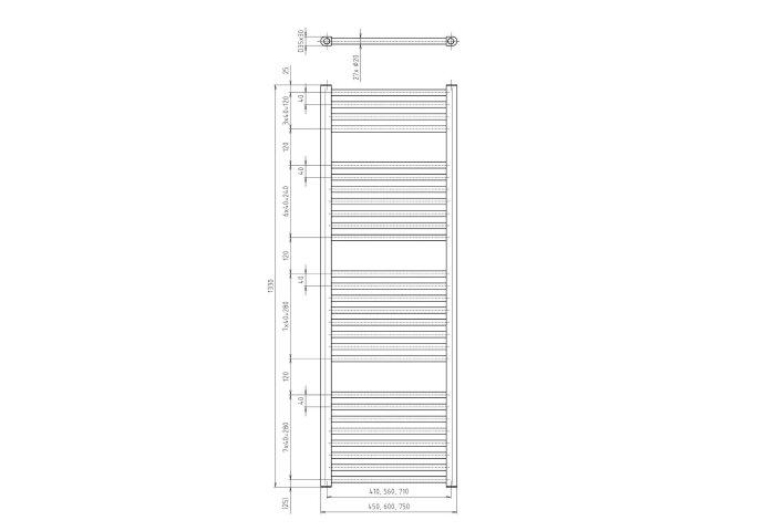 Handdoekradiator Sapho Direct Recht 60x133cm 693W Metallic Zilver