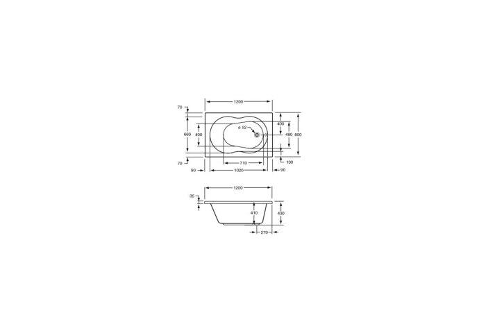 Zitbad Plieger Compact Acryl 120x80x41 cm met Poten Wit-shop