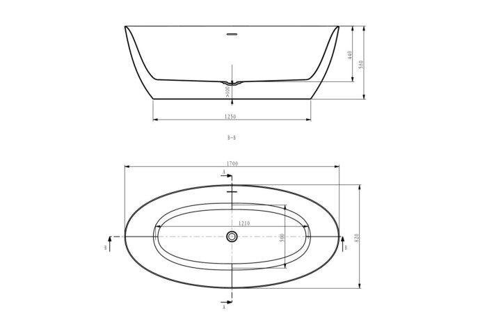 Ligbad Vrijstaand Boss & Wessing Second inclusief Sifon 170x82 cm Wit