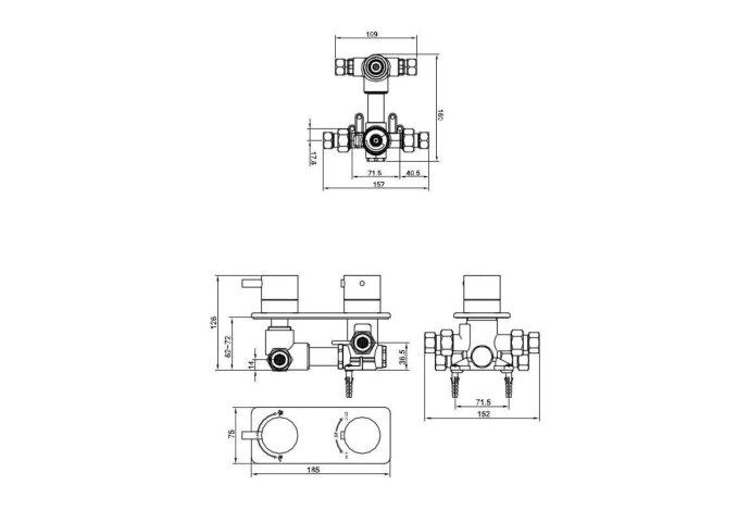 Inbouw Douchekraan Boss & Wessing Luxe Thermostatisch 2-Wegs Rond Chroom