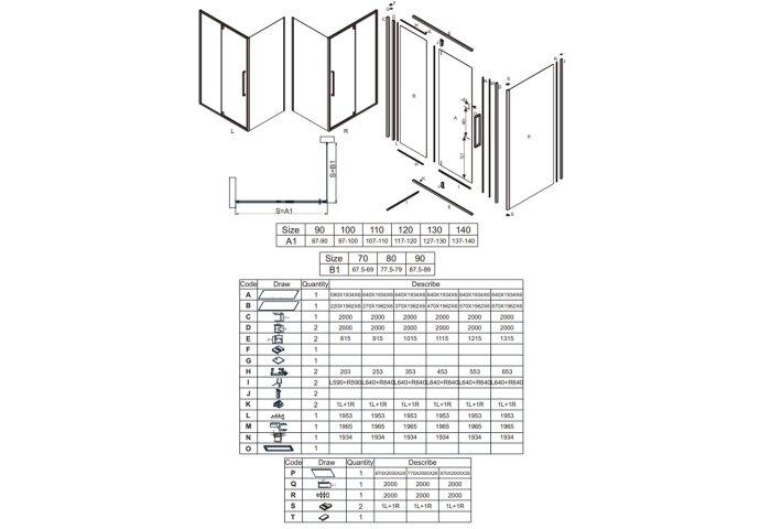 Klapdeur Lacus Murano Tweedelig Helder Glas 130x200 cm Aluminium Profiel Chroom