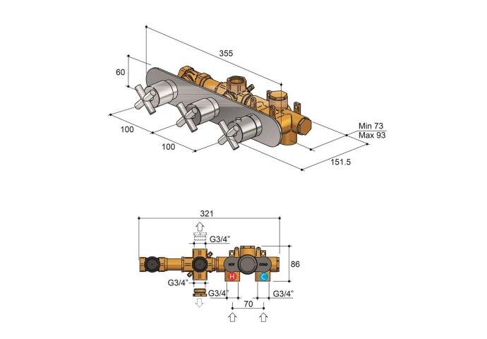 Douchethermostaat Hotbath Chap Inbouw 2 Stopkranen Horizontaal Chroom
