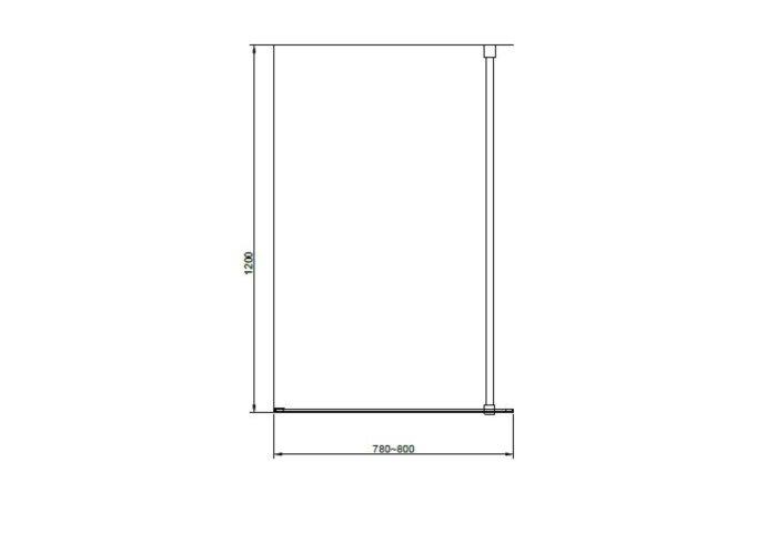 Badwand Van Rijn ST04 Helder Glas 8 mm Aluminium Zwart Profiel 80x160 cm