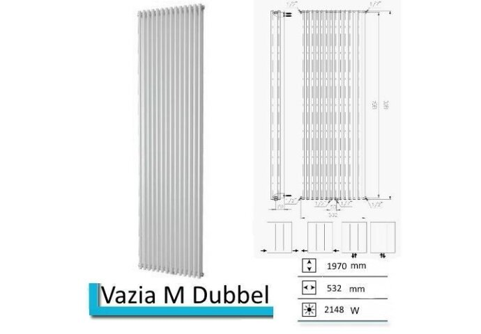 Designradiator Vazia M Dubbel 1970 x 532 mm Zwart