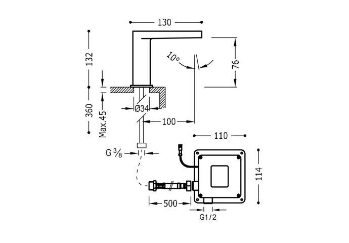 Elektronische Fonteinkraan Tres Trestronic 1 Uitgang Vierkant Chroom