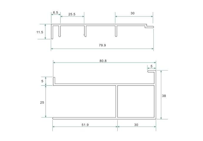 BWS Erie Verbredingsprofiel voor Douchewand Aluminium 3x202 cm