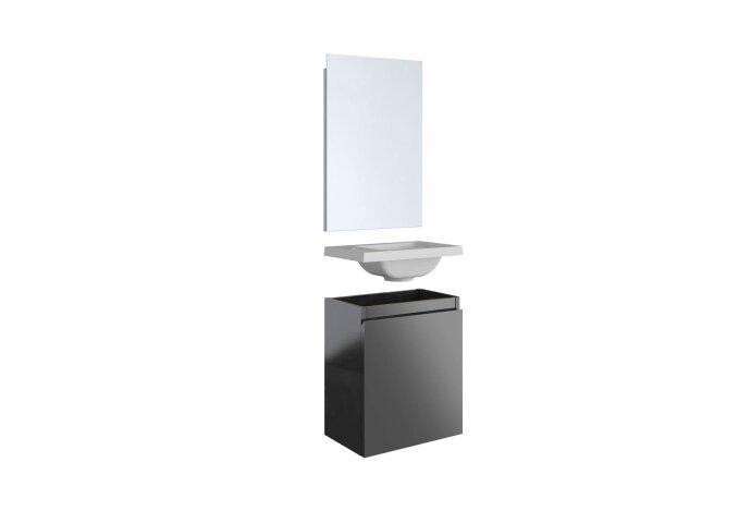 Fonteinset Allibert Porto Pack 40 Inclusief Spiegel Soft Close 40x51x25 cm Glanzend Donkergrijs