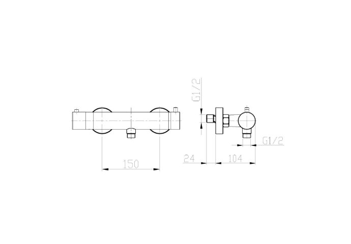 Douchekraan Opbouw Boss & Wessing Janeiro Thermostatisch 15 cm Geborsteld RVS