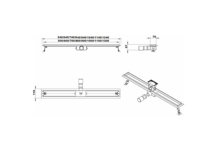 Douchegoot Boss & Wessing Fens met losse sifon RVS Standaard rooster 50cm