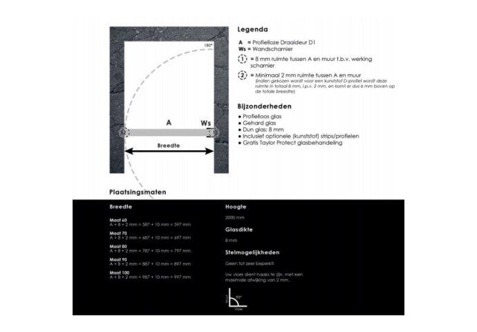 Nisdeur Sanilux zonder profiel 70 cm 8mm | Tegeldepot.nl