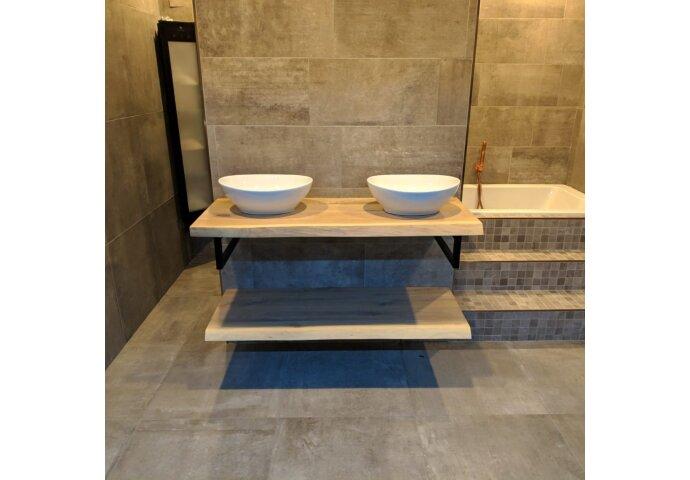 Badkamermeubel BWS Woodstone Twee Bovenbladen met Boomstamkant 160 cm (met beugels en waskommen)