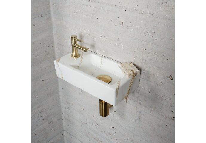 Fonteinset Carrara Marmerlook Wiesbaden Color Messing Goud (kraangat links)