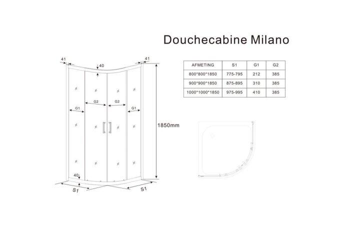 Douchecabine BWS Lusso Schuifdeur Hoekinstap Vierkant Rookglas 90x90 cm 5 mm Mat Zwart