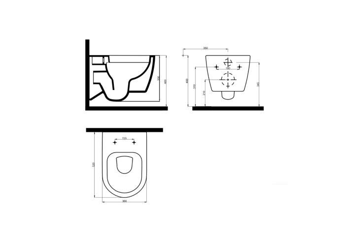 Wandcloset Idevit Alfa met Bidet Rimfree Wit Keramiek 36x52x30cm (Excl. zitting)