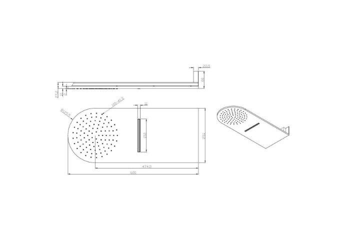 Luxe wand-hoofddouche 25x60 waterval chroom met afronding (Regendouche onderdelen)