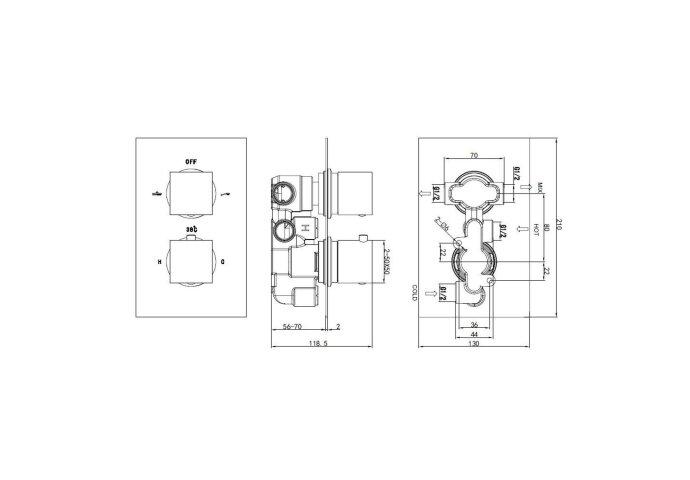Doucheset Best Design New Quadro Inbouw Thermostatisch 20 cm | Tegeldepot.nl