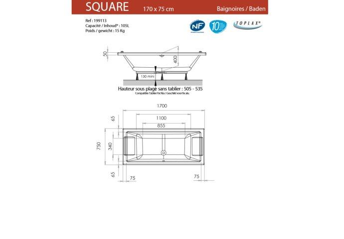 Ligbad Allibert Square 170x75 cm