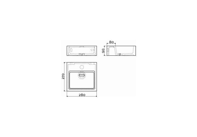 Clou Flush 1 Toiletfontein Met Voorbewerkt Kraangat En Plug Wit Mineral Marmer 28x27x9cm