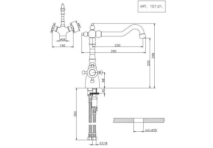 Thermostatische Keukenkraan Huber Victorian Chroom-Goud 15701HCA