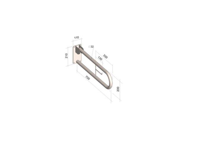 Plieger Comfort Life Toiletbeugel opklapbaar 70 cm Incl Closetrolhouder RVS Wit