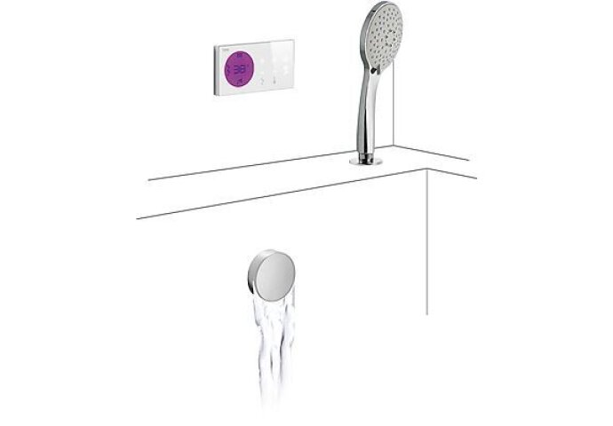 Tres electronische digitale bad inbouwthermostaat met handdouche en cascade baduitloop chroom 09286573