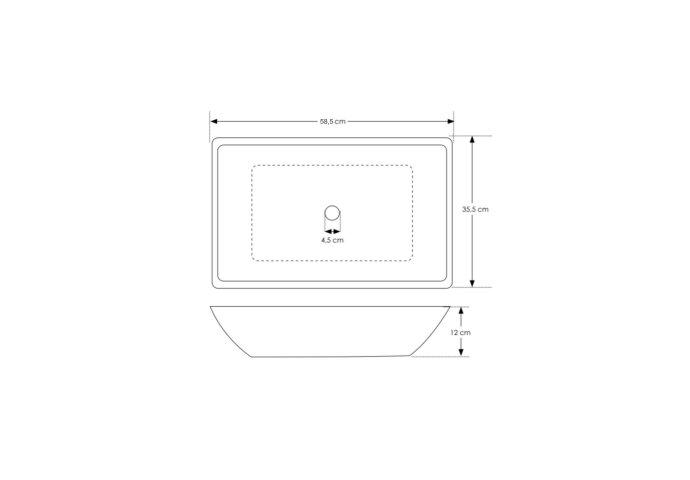 Waskom Opbouw Salenzi Beton 59x34x13 cm Mat Grijs