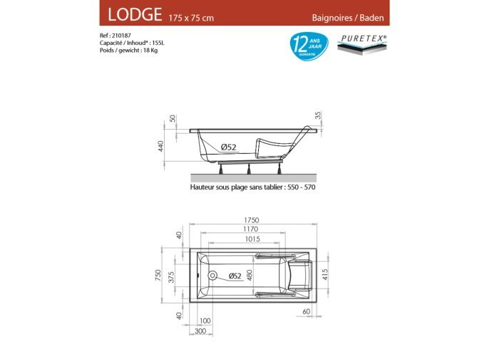 Ligbad Allibert lodge 175x75 cm