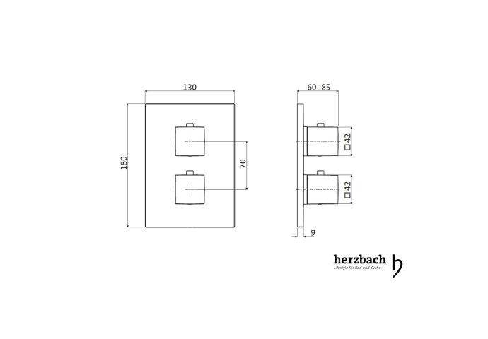 Inbouw Thermostaatkraan Herzbach Living Rechthoek 2-Weg Omstel Chroom