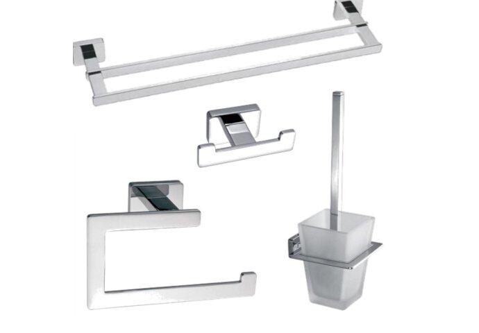 Toiletset accessoires Sanilux Cube handdoekrek + jashaak + toiletrolhouder + toiletborstel Chroom