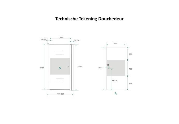 Douchecabine Boss & Wessing met Middenband op Nisdeur en Vaste Wand 80 cm Rechts Scharnierend