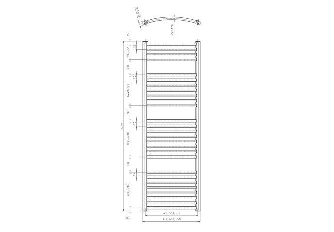 Handdoekradiator Sapho Orbit Gebogen 45x133 cm 545W Metallic Zilver